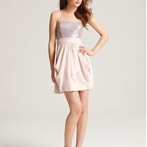 Bloomingdale's AQUA sequin bustier blush dress